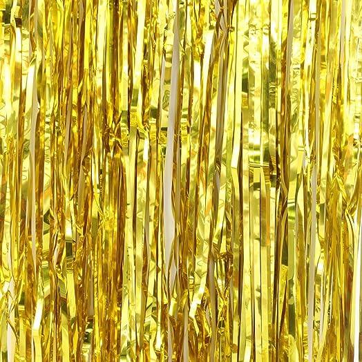 Sunbeauty big 3ft x 8ft fringe foil curtain party tinsel backdrop sunbeauty big 3ft x 8ft fringe foil curtain party tinsel backdrop party wedding decoration gold junglespirit Gallery