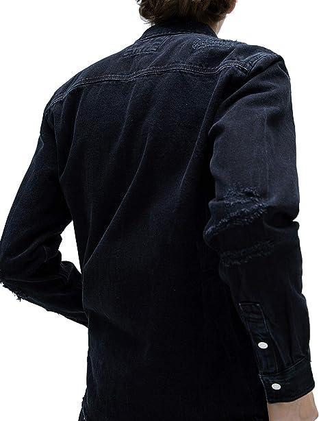Zara 6917/450/800 - Camisa Vaquera para Hombre Negro L ...