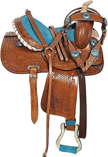 16 Used Trail Saddle Western Horse Blue Set Premium Barrel Racing Tack