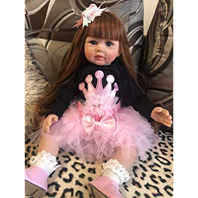 Angelbaby Lifelike Soft Silicone Toddler Dolls Reborn Baby Girl Princess Dolls 24 Inch 60CM Huggable Cloth Body Real Baby Feel Children with Clothes (Pink/Black): Toys & Games
