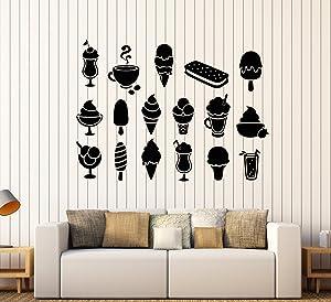 Vinyl Wall Decal Ice Cream Truck Man Dessert Food Coffee Cafe Stickers Large Decor (1695ig) Black