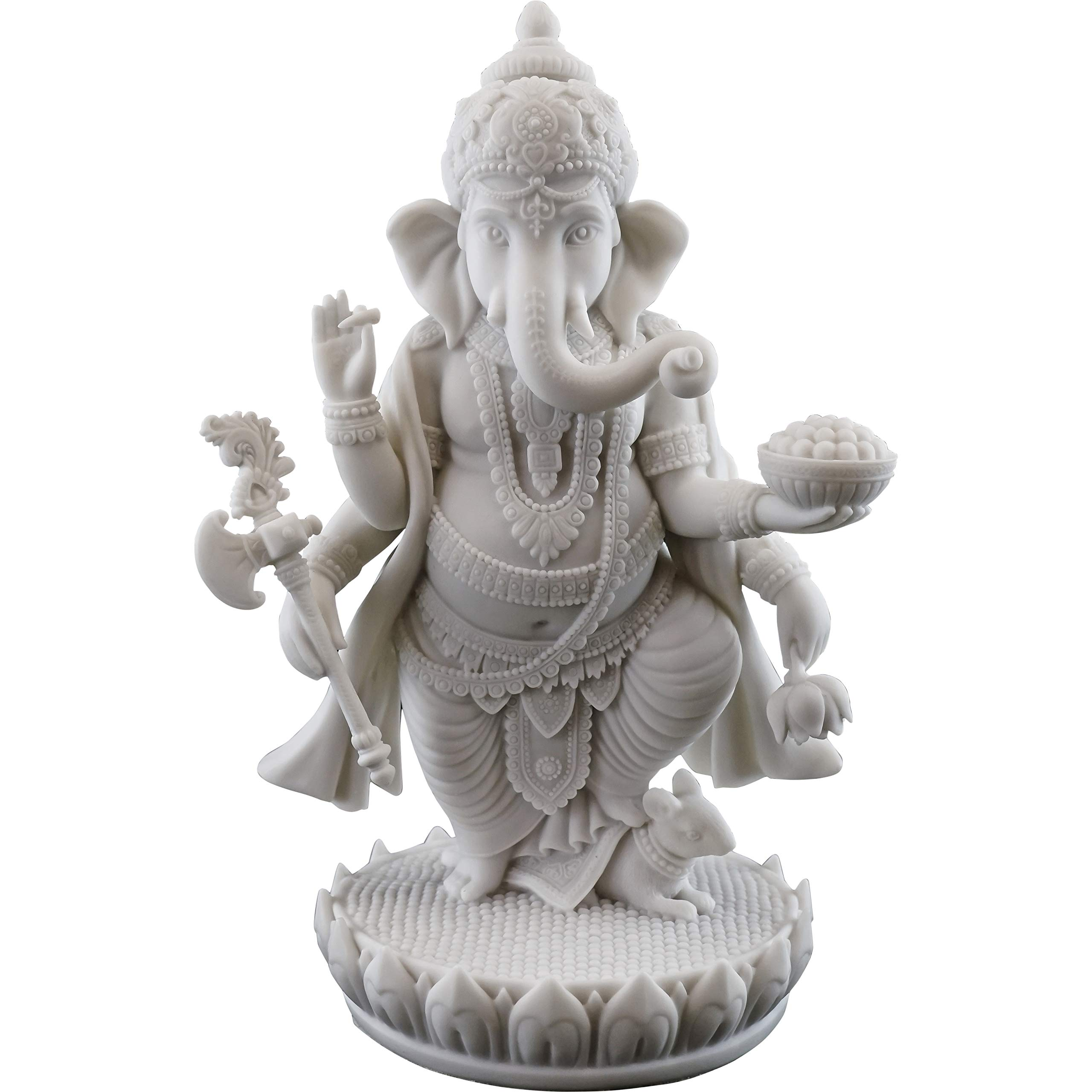 Top Collection 7.5'' H 4.75'' Standing Ganesh Statue in White Marble Finish - Hindu Lord of Success Sculpture by Top Collection