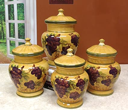 Superbe Tuscany Grapes 4pc/canisters Kitchen Decor Set