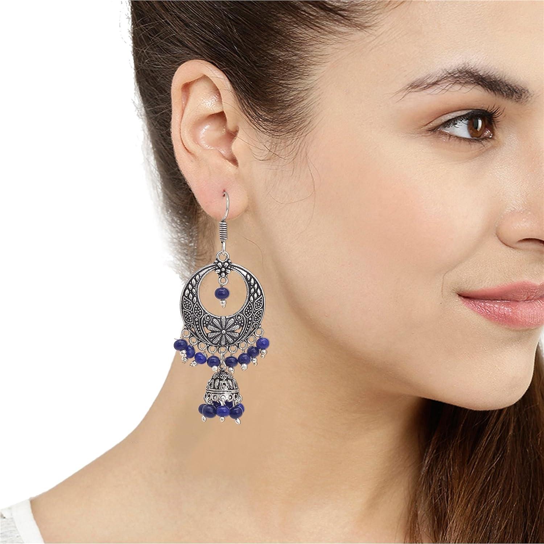 Zephyrr Fashion Oxidized Ethnic Beaded Chandbali Hook Earrings For Women