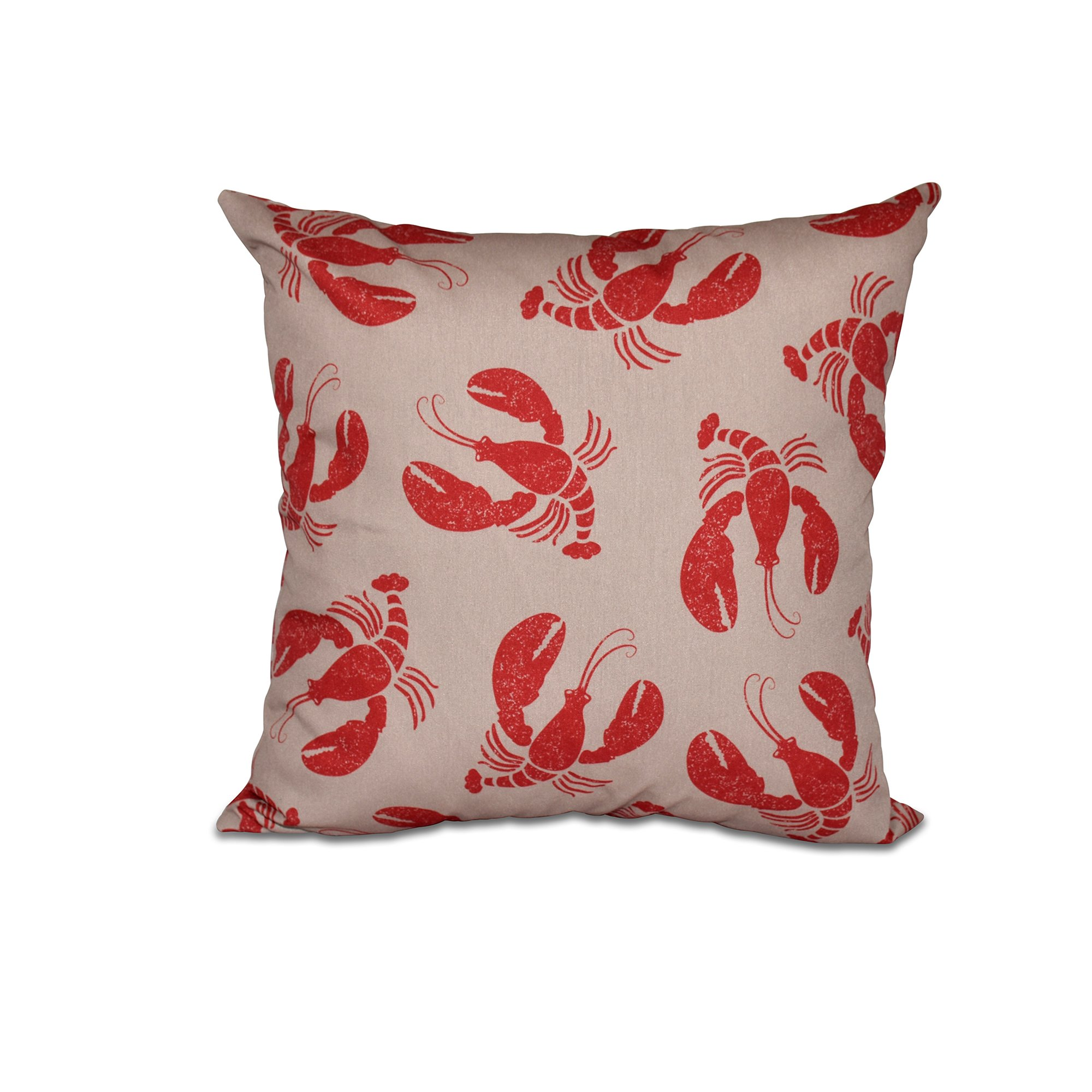E by design O5PAN405TA8RE1-18 18'' x 18'' Lobster Fest Taupe/Beige Animal Print Outdoor Pillow