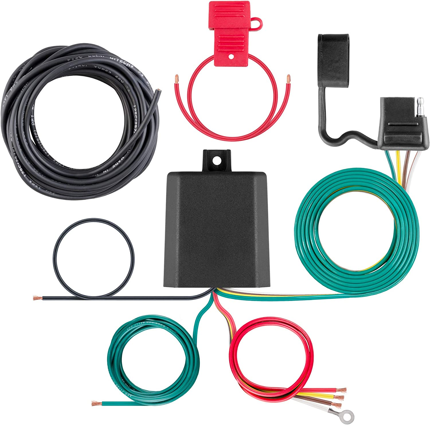Amazon.com: CURT 59496 Weather-Resistant Powered 3-to-2-Wire Splice-in  Trailer Tail Light Converter Kit, 4-Pin Wiring Harness: Automotive
