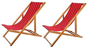 Wunderbar 2er Set Holz Strandstuhl Strandliege Liegestuhl Klappbar Gartenliege  Sonnenliege Campingstuhl