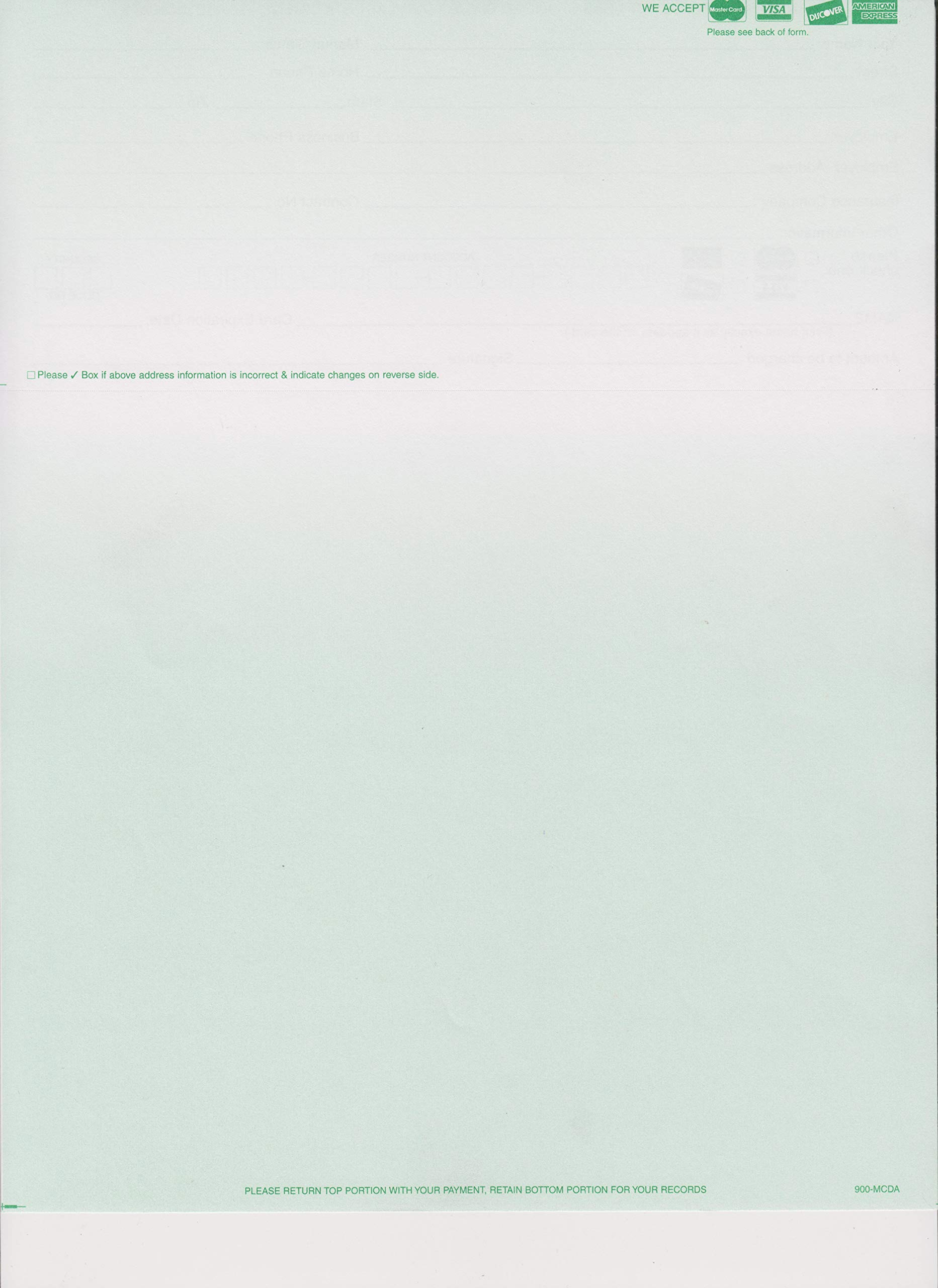 500 COLORED BLANK PERFORATED STATEMENT PAPER WITH CREDIT CARD LOGOS (GREEN)