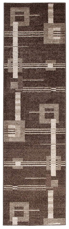 Tapiso Rasta Teppich Läufer Meterware Modern Kurzflor Meliert Vierecke Figuren Braun Beige Flur Brücke Wohnzimmer Esszimmer ÖKOTEX 70 x 320 cm