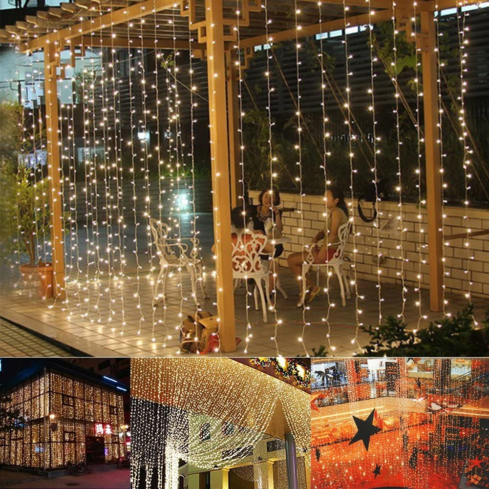 slashome LED Curtain Lights, 19.8x9.8ft, 600 LED, 8 Modes Plug in Curtain Lights, Wall Window String Lights for Indoor Outdoor Christmas Party Wedding Backdrop Patio Décor Garden Bedroom Decorations