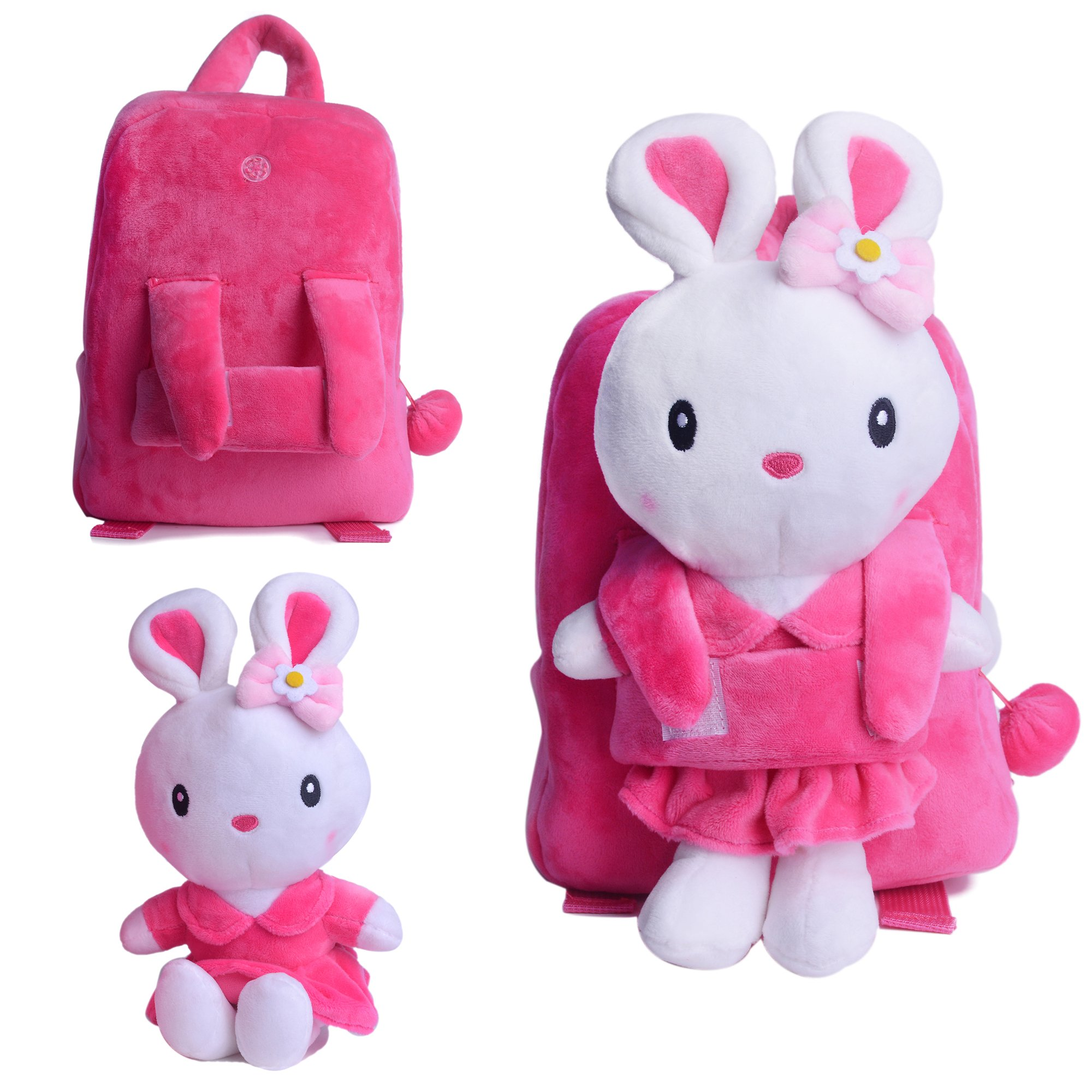 Gloveleya Bunny Rabbit Plush Kid's Backpack Shoulder Bags Easter Gifts 8'' for Kids Under 5 Years Old