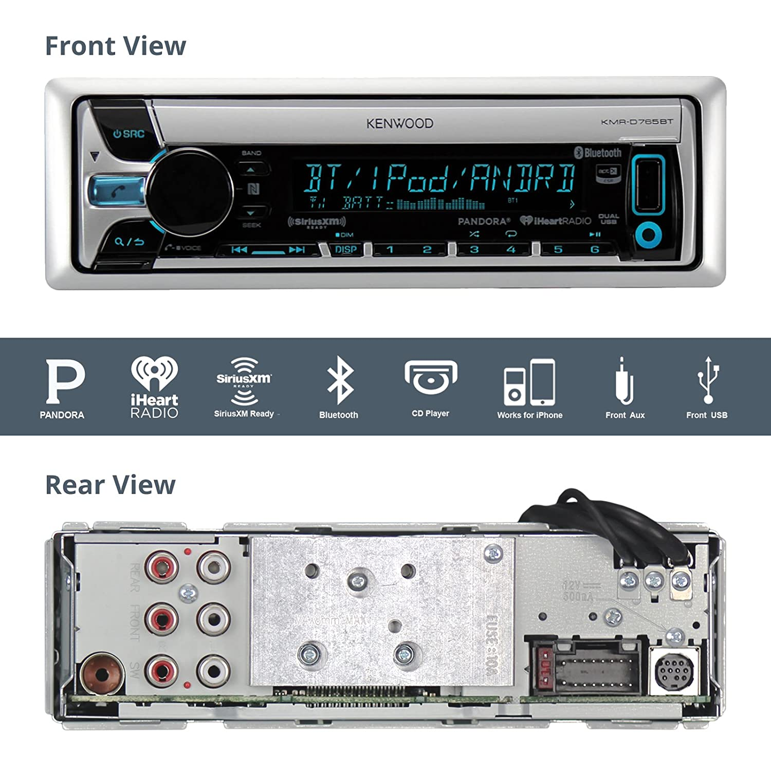 81UildcFTwL._SL1500_ amazon com kenwood kmrd765bt marine cd receiver with bluetooth kenwood kmr-550u wiring diagram at gsmportal.co