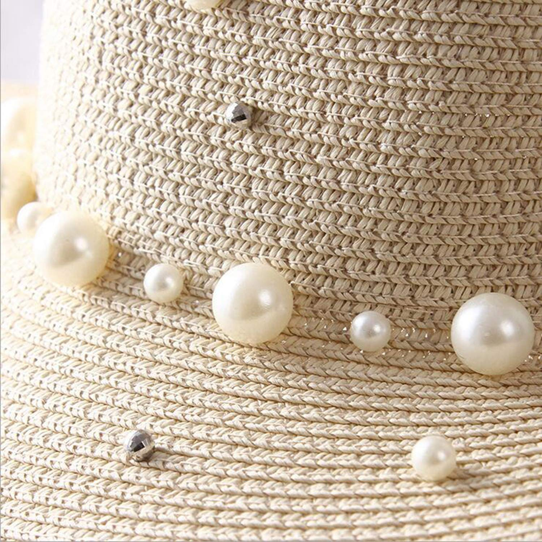 Fashion Summer British Pearl Beading Flat Brimmed Straw hat Shading Sun hat Lady Fashion Beach hat Jazz hat for Women
