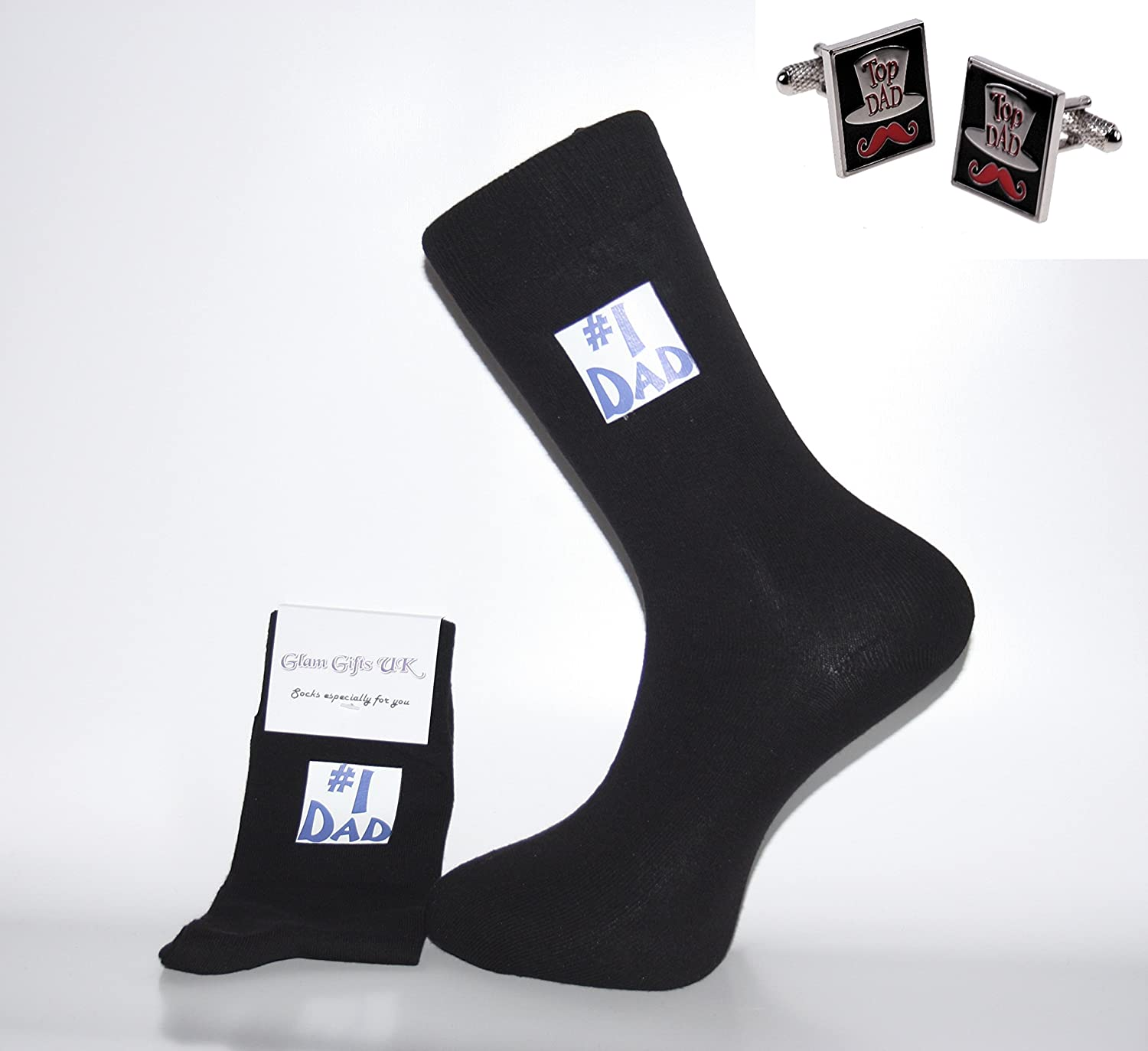 Glam Novelty Socks - Sock & Cufflink Sets Calcetines y Estos Gemelos – Negro Calcetines con no 1 Dad Calcetines & Top Dad Gemelos. Un Gran Regalo para Navidad, cumpleaños, día del Padre, Regal