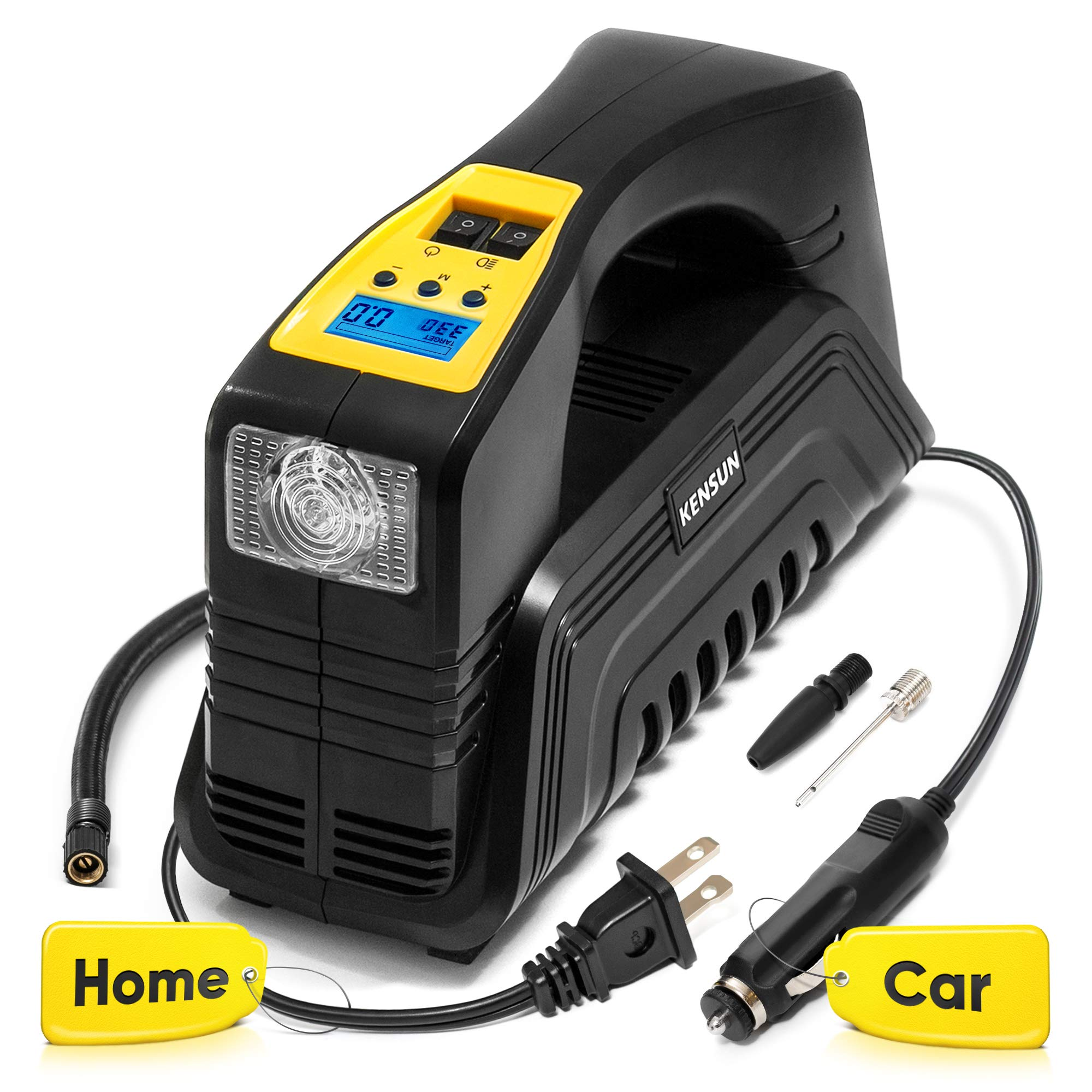 Kensun AC/DC Digital Tire Inflator for Car 12V DC and Home 110V AC Rapid Performance Portable Air Compressor Pump for Car, Bicycle, Motorcycle, Basketball and Others by Kensun