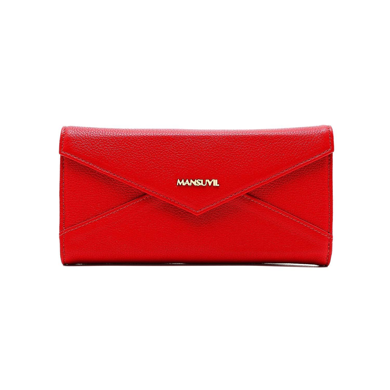 MANSUVIL Womens Ladies Leather Wallet Womans Purse Ladies Purse Credit Card Long Wallets