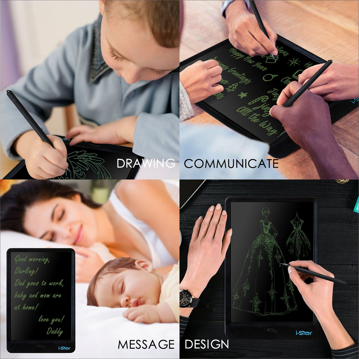 LCD Writing Tablet, i-Star 10 inches Lock Electronic Drawing Painting Board, Paper-Free, Portable Doodle Handwriting Notepad Gift for Kids Adults Designer Office House, Black by I-STAR (Image #5)