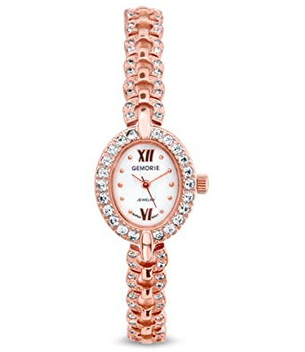 bd96a2aac3d Amazon.com  Gemorie Women Fashion Oval Shape Watch with Jewelry Band in Rose  Gold Plating (129090-RG)  Gemorie  Watches