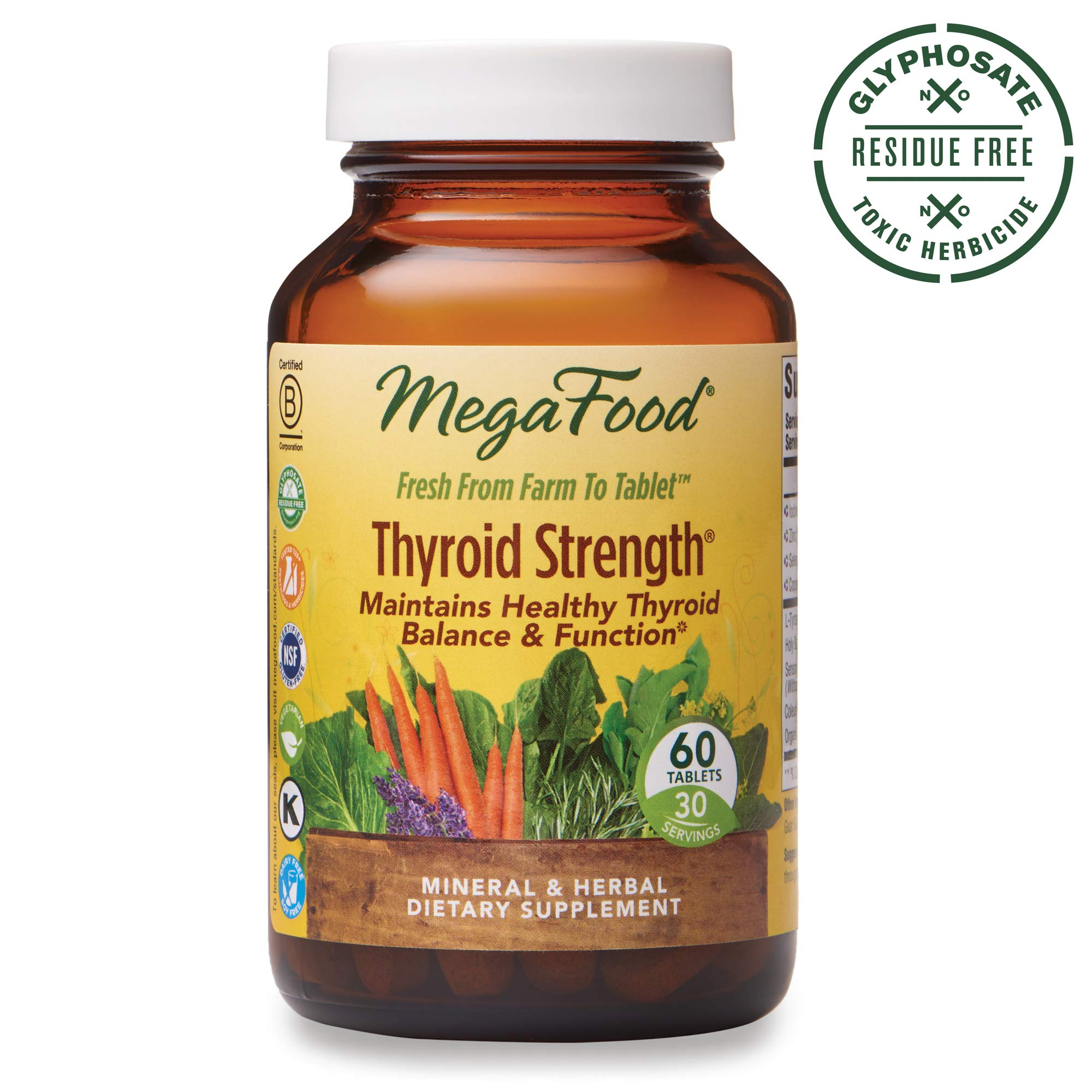 MegaFood, Thyroid Strength, Supports Thyroid Health, Mineral and Herbal Supplement with Herbs, Vegan, 60 Tablets (30 Servings) by MegaFood