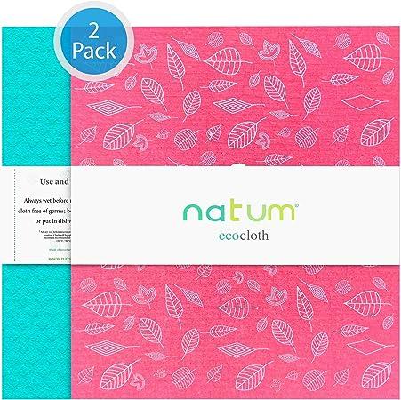 Natum ecocloth™ XL Colores Surtidos (2 Unidades) | Bayetas ecológicas antibacterianas | Paños Reutilizables de 70% Algodón 30% celulosa | Multisuperficie & Cristales: Amazon.es: Hogar