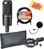 Audio-Technica AT2035 Cardioid Condenser Microphone Bundle with Pop Filter, XLR Cable, and Austin Bazaar Polishing Cloth