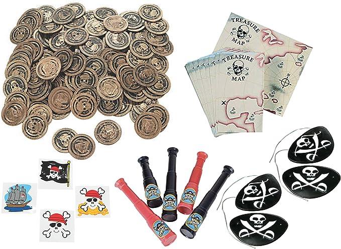 228 Juego de recuerdos de fiesta pirata - Monedas piratas, mapas, telescopios, tatuajes y sombras de ojos: Amazon.es: Juguetes y juegos