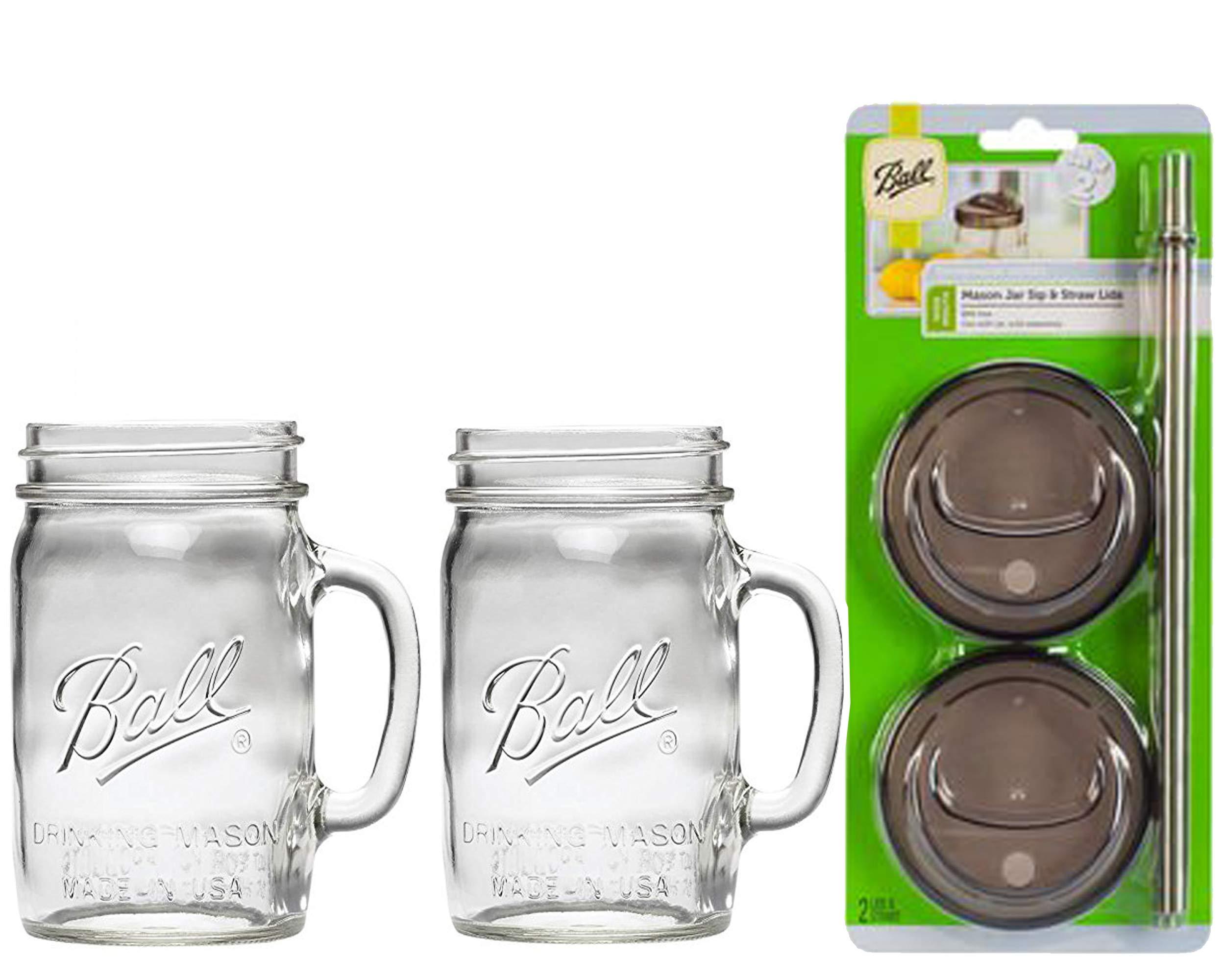 2 Ball Glass Mason Drinking Jars with 2 Sip and Straw Lids (2, 24oz Mug) by Ball