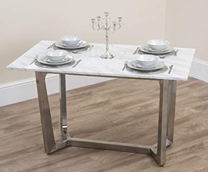 Abreo Marble Top Dining Table With Metal Legs For Dining Room In White Black Gold Silver Metal 4 6 Seater White Marble Effect With Brushed Steel Legs Amazon Co Uk Home Kitchen