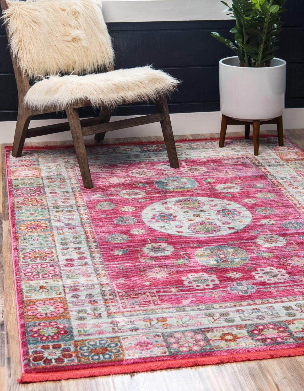 Unique Loom Baracoa Collection Bright Tones Vintage Traditional Pink Area Rug 10 0 x 13 0