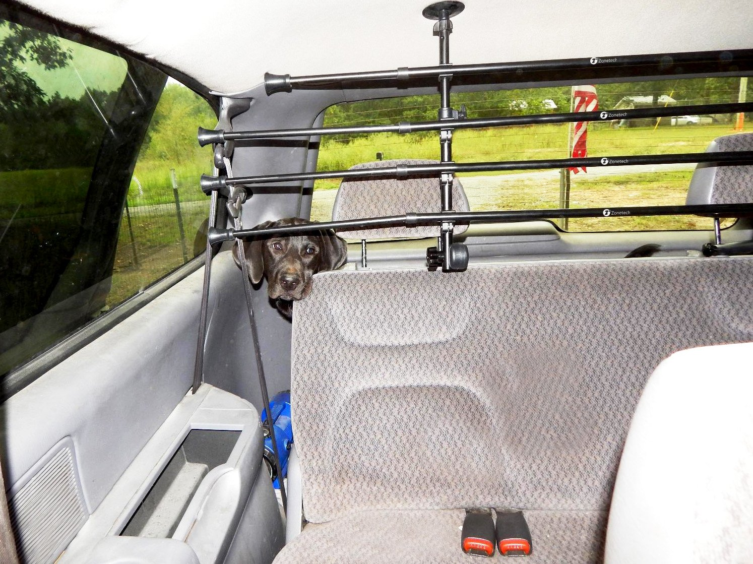 Zone Tech Universal Pet Barrier - Adjustable Mounted Headrest Barrier for Pet Automotive Safety by Zonetech (Image #2)
