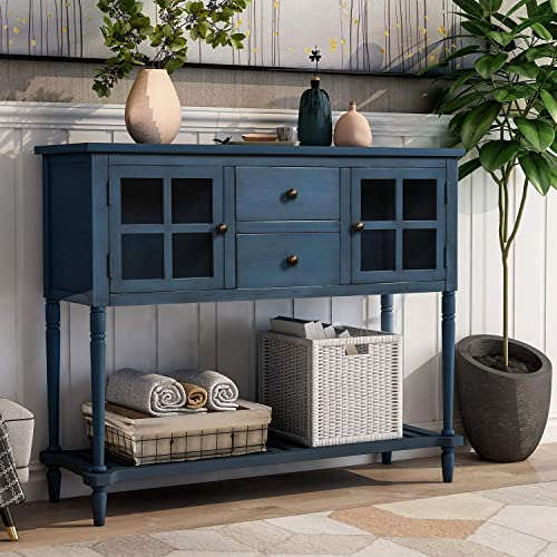 Solid Wood Media Console Table Rustic Style for Entryway Hallway, with Drawers and Shelf, Antique Navy