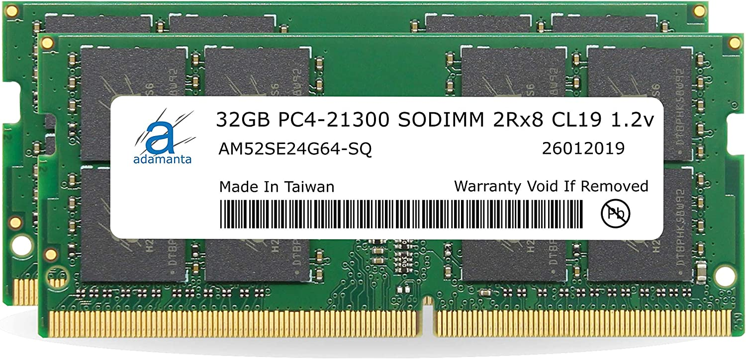 "Adamanta 64GB (2x32GB) Memory Upgrade for 2020 Apple iMac 27"" w/Retina 5K Display, 2019 Apple iMac 27"" w/Retina 5K Display & 2018 Apple Mac Mini DDR4 2666Mhz PC4-21300 SODIMM 2Rx8 CL19 1.2v DRAM RAM"
