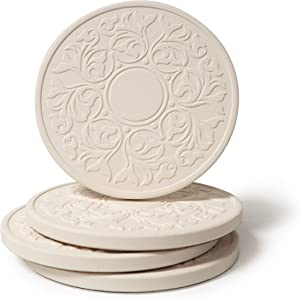 """CoasterStone Absorbent Stone Coasters, """"Victorian Lace Set of 4, White"""