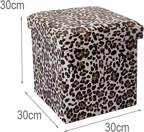 Intirilife Puff Baúl Plegable 30x30x30 cm in Motivo Leopardo ...