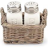 Mud Pie Salt & Pepper Set in Willow Basket Holder, White