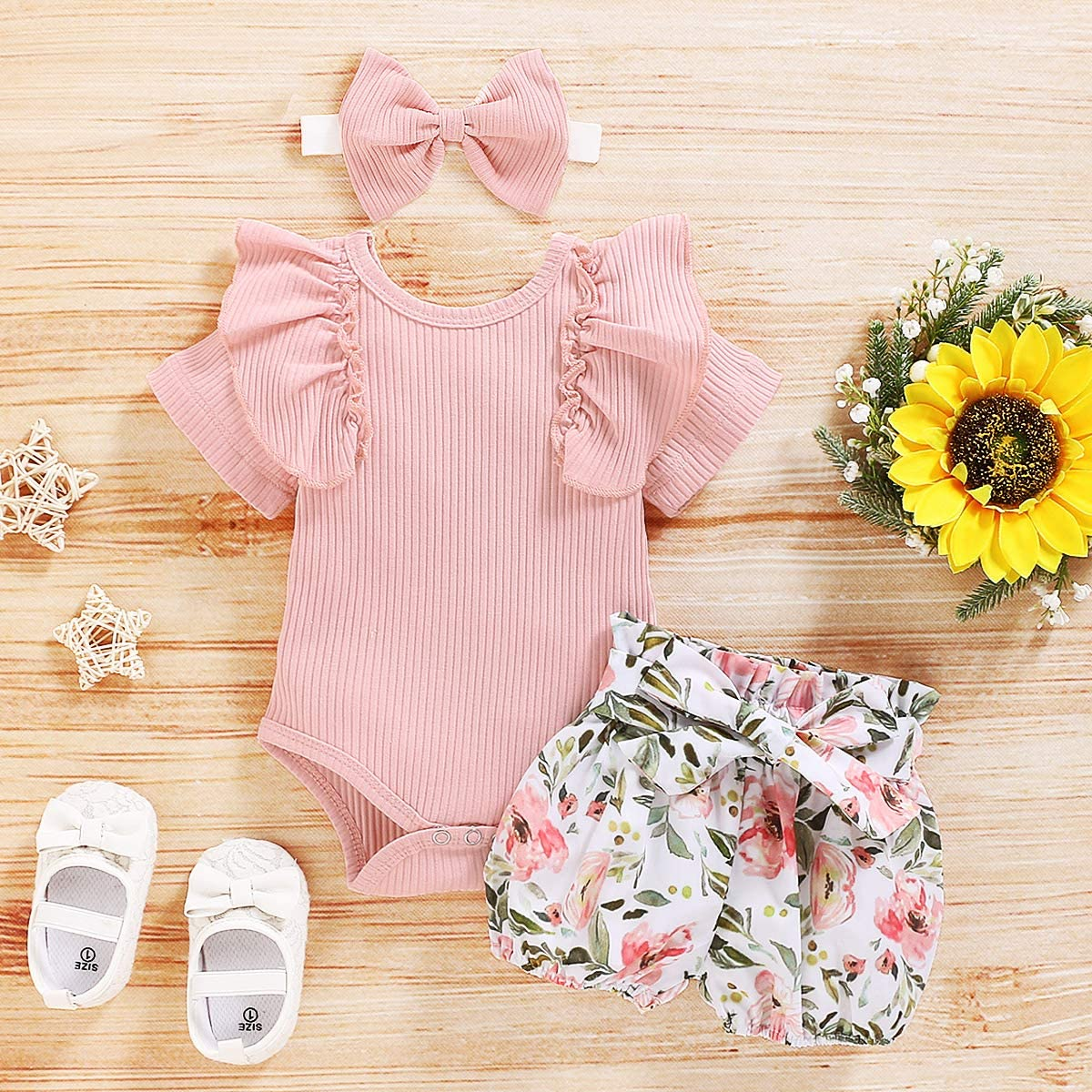 Pant Set with Headband Solid Color Ruffle Short Sleeve Tops bilison Toddler Baby Girl Clothes Outfits