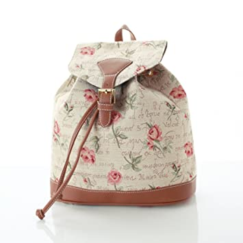 Women s Small Rucksack Backpack Fashion Bags Canvas Pink Rose Design ... ef1181f365