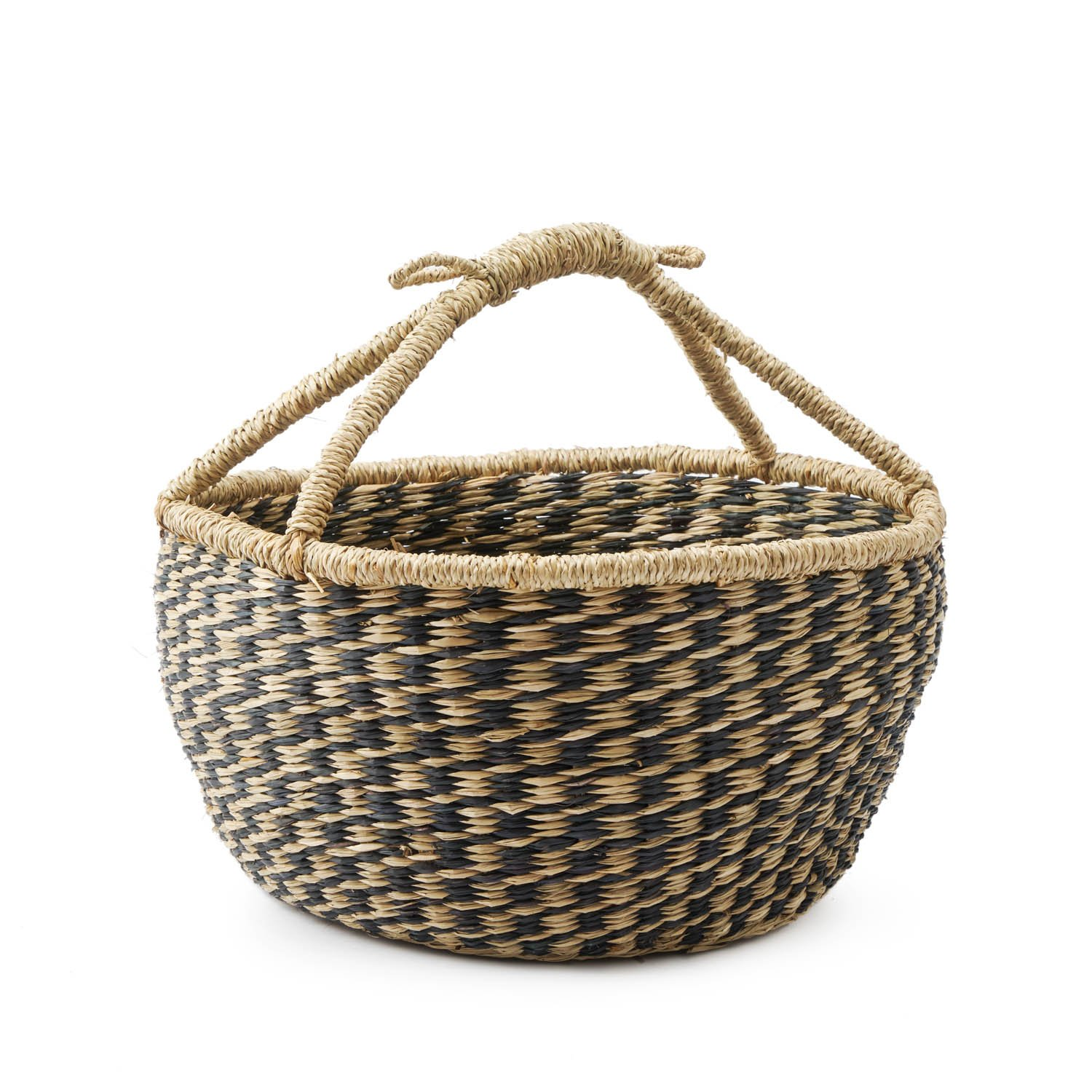 Black Velvet Studio Basket Jakarta , color black and Natural. Circular, very attractive Natural texture, artisan product, Frutero 26x32x32 cm. Black Velvet Studio S.L.U.