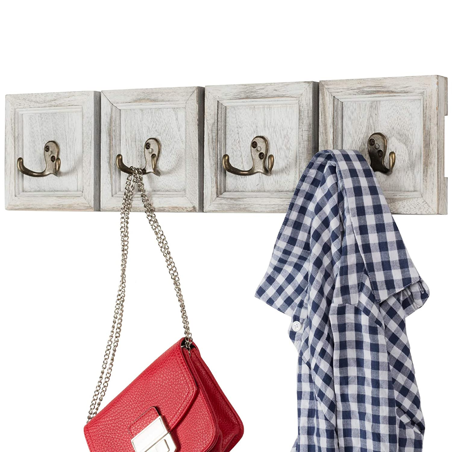"""Rustic Wall Mounted Coat Rack with 4 double hanging hooks. Overall Size is 24""""x6"""". Use as coat rack, hat organizer, key holder. Perfect for Entryway, Mudroom, Kitchen, Bathroom, Hallway, Foyer"""
