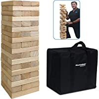 54Piece Large Wood Block Stack & Tumble Tower Toppling Blocks Game– Great for Game Nights for Kids, Adults & Family…