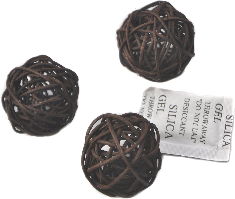 Set of 6 Wicker Rattan Balls Table Wedding Party Christmas Decoration (Diameter 3.2 Inch, Dark Brown)