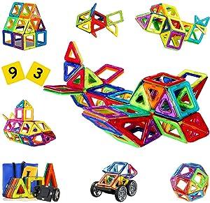 SVOC Magnetic Blocks, 93 PCS Magnetic Tiles for Boys and Girls, Magnetic Building Blocks Set Educational Toys for Kids