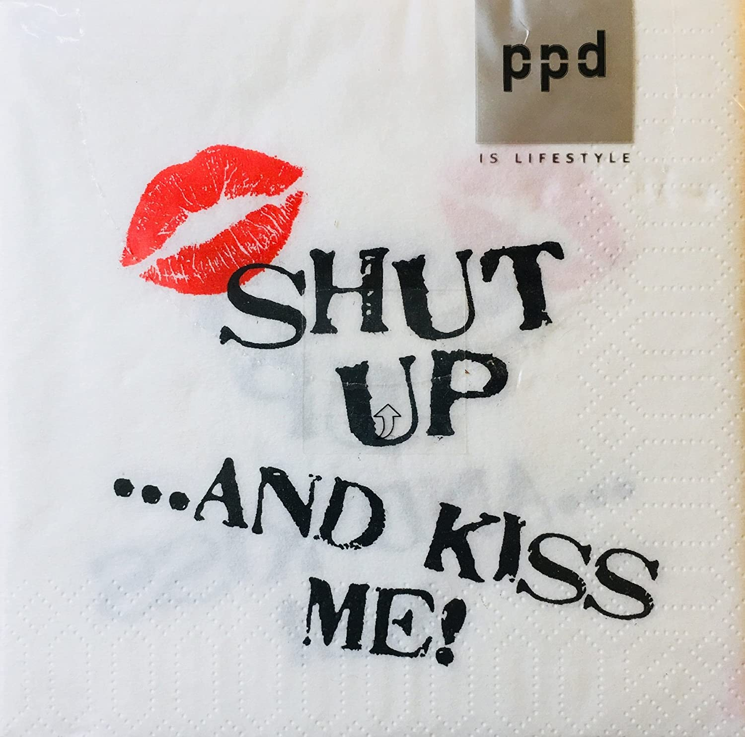 20 ct Cocktail Beverage Paper Napkins Paperproducts Shut up.and Kiss Me