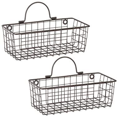 DII Rustic Farmhouse Vintage Hanging Wall Mounted Wire Metal Basket, Set of 2 Small, Bronze
