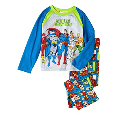 Justice League Super Heroes Boy's Glow-in-The Dark Polyester Pajama Set