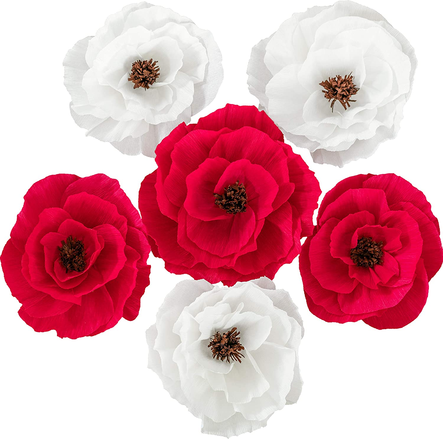 Paper Flowers Decorations for Wall (Red/White) - Flower Wall Decor for Wedding Backdrop Baby Shower Bridal Shower Party Nursery Centerpiece Handmade Wall Flowers Decorations (6Pcs)…