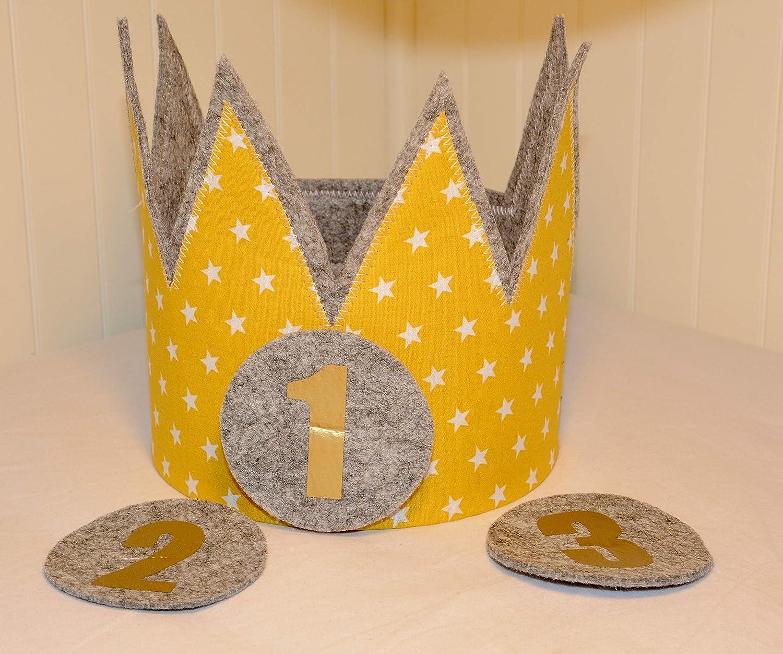 Geburtstagskrone Der Wollprinz Krone, Kinder Geburtstag Kinderkrone-Krone Geburtstagskrone, Stoffkrone Gelb/Gold