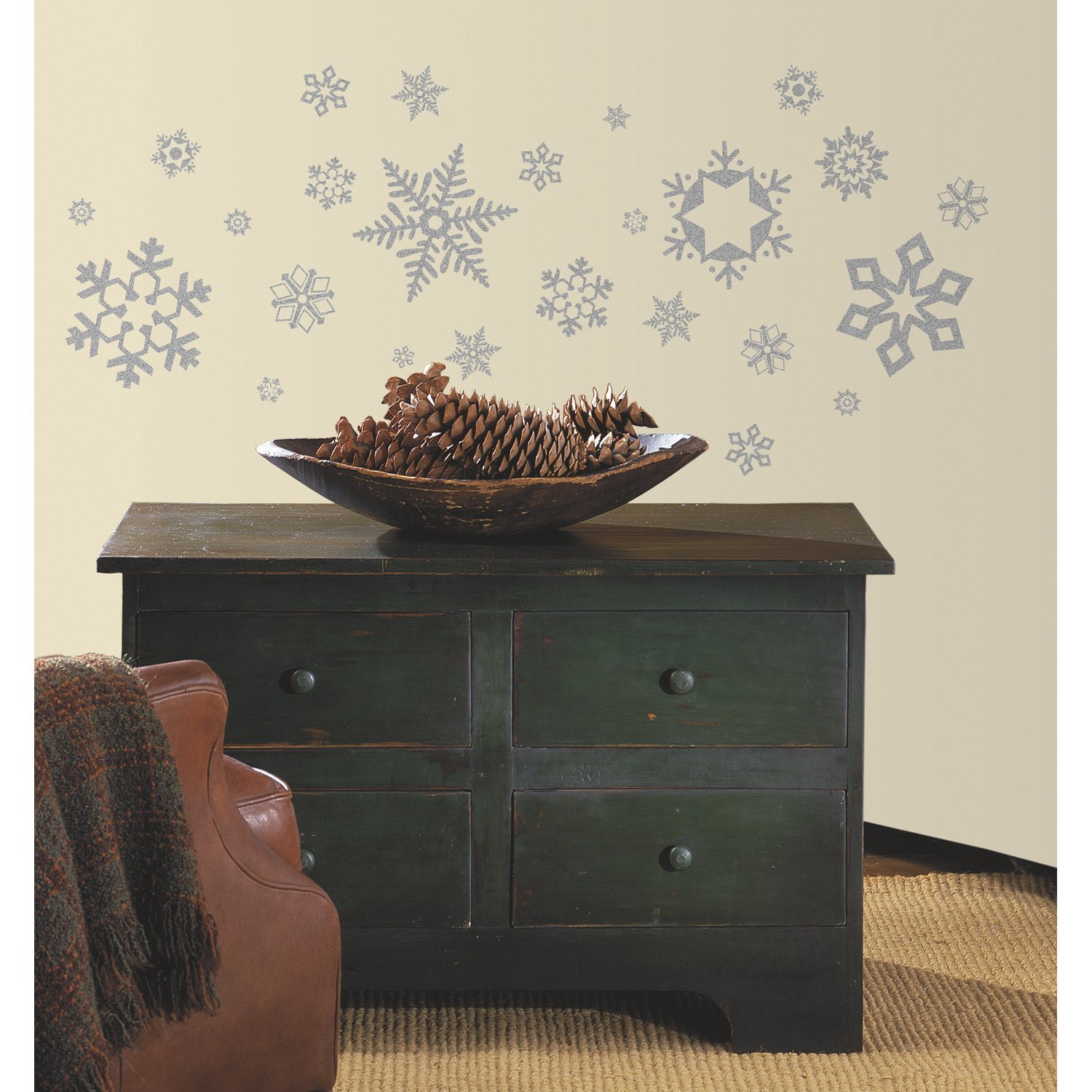 RoomMates RMK1413SCS Glitter Snowflakes Peel and Stick Wall Decals, 47 Count