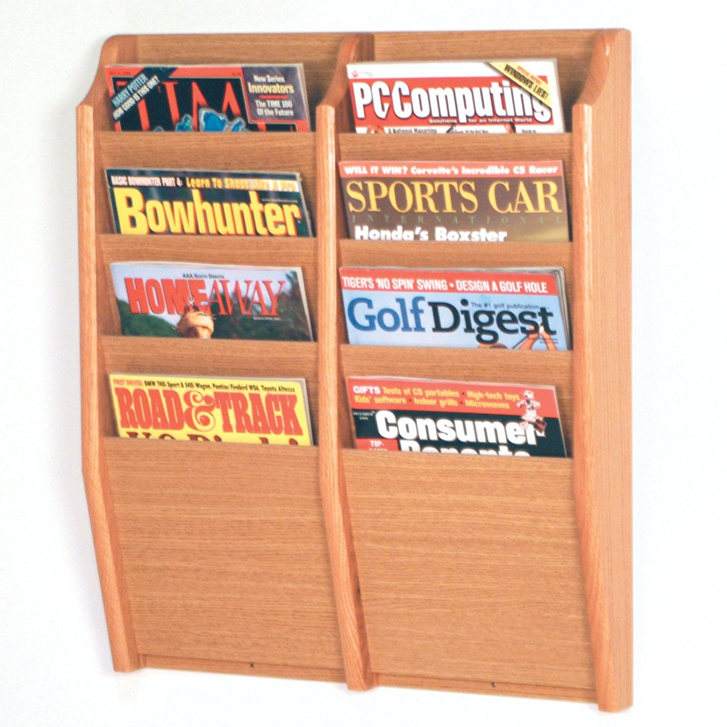 Wooden Mallet 8 Pocket Cascade Magazine Rack, Light Oak MR24-8LO