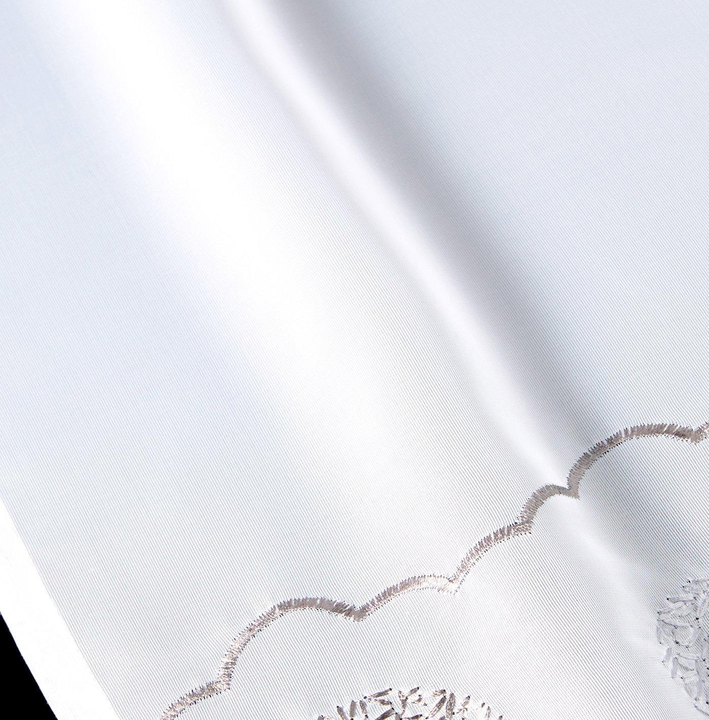 BAILEY JO 1er-Pack Schlaufen Scheibengardine mit Stickerei f/ür K/üchen Voile Raffrollo grau, HxB 45x90cm